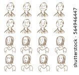 facial expressions collection... | Shutterstock .eps vector #564946447