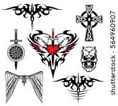 black red white tattoo set... | Shutterstock .eps vector #564960907