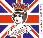 the portrait of queen of the uk ... | Shutterstock .eps vector #564973897