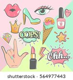 fashion patch badges with lips  ... | Shutterstock .eps vector #564977443