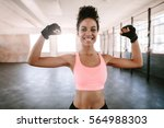 portrait of young fitness woman ... | Shutterstock . vector #564988303