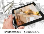 hand of architect on computer... | Shutterstock . vector #565003273
