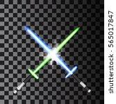 two crossed light swords on... | Shutterstock .eps vector #565017847