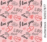 seamless pattern of hearts and... | Shutterstock .eps vector #565017877