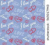 seamless pattern of hearts and... | Shutterstock .eps vector #565017943