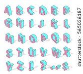 isometric alphabet font...   Shutterstock .eps vector #565026187