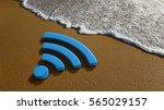 wifi 4g internet on the beach.... | Shutterstock . vector #565029157