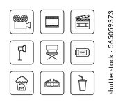 movie and cinema line icons set ... | Shutterstock .eps vector #565059373