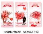 three valentine's day banners... | Shutterstock .eps vector #565061743