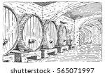 Wine Barrels In Cellar Vintage...