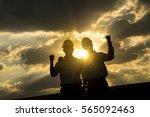 man engineer raise hand up... | Shutterstock . vector #565092463