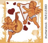 vintage cute cupids or amour... | Shutterstock .eps vector #565115383