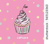 sweet cupcake print   Shutterstock .eps vector #565123363