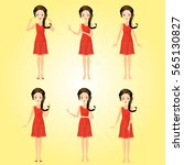 set of girl character | Shutterstock . vector #565130827