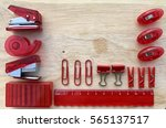 a set of red  office stationery ... | Shutterstock . vector #565137517
