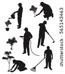 gardening silhouette collection  | Shutterstock .eps vector #565143463