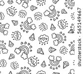 doodles cute seamless pattern.... | Shutterstock .eps vector #565149667