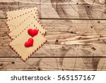 valentine day love letters on... | Shutterstock . vector #565157167