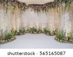wedding backdrop with flower... | Shutterstock . vector #565165087