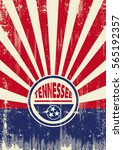 tennessee flag retro sunbeams... | Shutterstock .eps vector #565192357