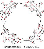 Vector with spring twigs,circle of branches.Freehand drawing  herbal sketch for wedding,elements for greeting cards, invitations,menu,web design, textiles, clothes, Seamless floral and heart pattern.