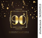 90th anniversary logo with... | Shutterstock .eps vector #565204513