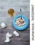 pills and hot tea  treatment of ... | Shutterstock . vector #565209847