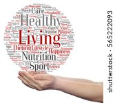 Small photo of Concept or conceptual healthy living positive nutrition or sport circle word cloud in hand isolated on background metaphor to happiness, care, organic, recreation workout, beauty, vital healthcare spa