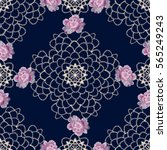 lace colorful ethnic floral... | Shutterstock .eps vector #565249243