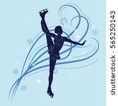 silhouette of the figure skater ... | Shutterstock .eps vector #565250143