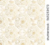 vector gold floral seamless... | Shutterstock .eps vector #565253473