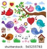 valentine birds theme set 1  ... | Shutterstock .eps vector #565255783