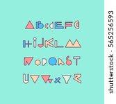 vector linear font   simple... | Shutterstock .eps vector #565256593