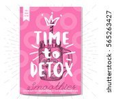 time to detox  smoothies  jar ... | Shutterstock .eps vector #565263427