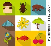 flora and fauna icons set. flat ... | Shutterstock .eps vector #565263937