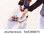 figure skates in snow close up  ... | Shutterstock . vector #565288873