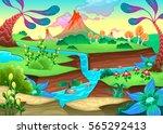 funny prehistoric landscape... | Shutterstock .eps vector #565292413