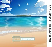 vector landscape with ocean ... | Shutterstock .eps vector #565294123