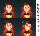 emotion in the cinema. fun ... | Shutterstock .eps vector #565309567