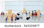 professional workers load the... | Shutterstock .eps vector #565335877