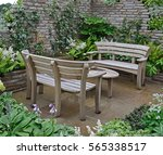 close up of a wooden garden... | Shutterstock . vector #565338517