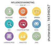 influencer marketing icon set... | Shutterstock .eps vector #565348267