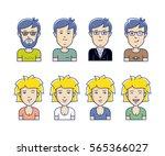 avatars of men and women vector ... | Shutterstock .eps vector #565366027