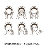 girl cares about her face.... | Shutterstock . vector #565367923