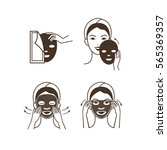 steps how to apply facial mask. ... | Shutterstock . vector #565369357