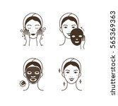 steps how to apply facial mask.... | Shutterstock . vector #565369363
