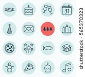 set of 16 christmas icons.... | Shutterstock . vector #565370323