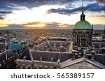 Stock photo  sunset in amsterdam netherlands 565389157