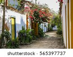 Street With Colonial Houses An...
