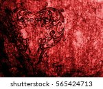 red heart lovely grunge... | Shutterstock . vector #565424713